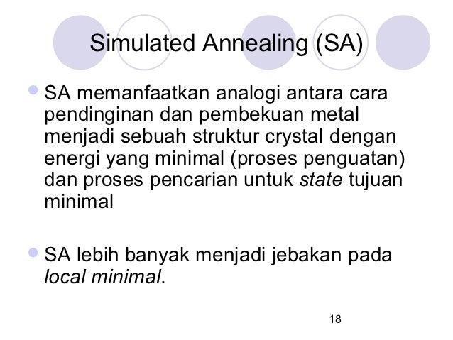 Simulated Annealing (SA) SAmemanfaatkan analogi antara cara pendinginan dan pembekuan metal menjadi sebuah struktur cryst...