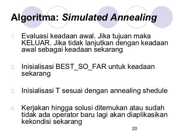 Algoritma: Simulated Annealing1.   Evaluasi keadaan awal. Jika tujuan maka     KELUAR. Jika tidak lanjutkan dengan keadaan...
