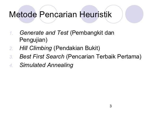 Metode Pencarian Heuristik1.   Generate and Test (Pembangkit dan     Pengujian)2.   Hill Climbing (Pendakian Bukit)3.   Be...