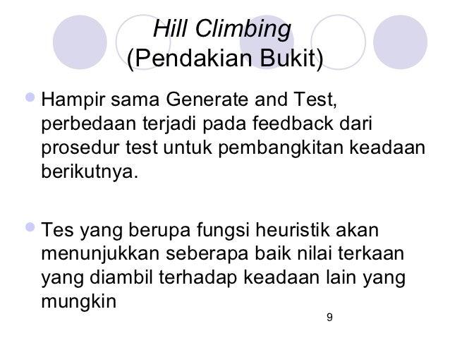 Hill Climbing           (Pendakian Bukit) Hampir sama Generate and Test, perbedaan terjadi pada feedback dari prosedur te...