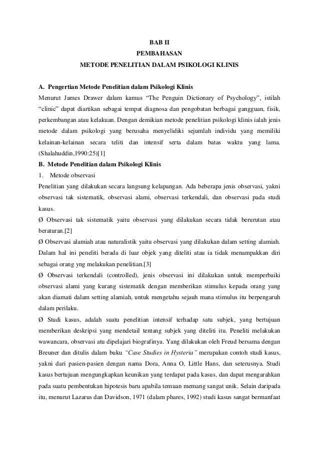 Metode Penelitian Dalam Psikologi Klinis