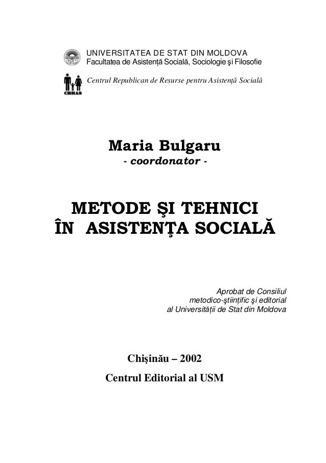 UNIVERSITATEA DE STAT DIN MOLDOVAFacultatea de Asistenţă Socială, Sociologie şi FilosofieCentrul Republican de Resurse pen...