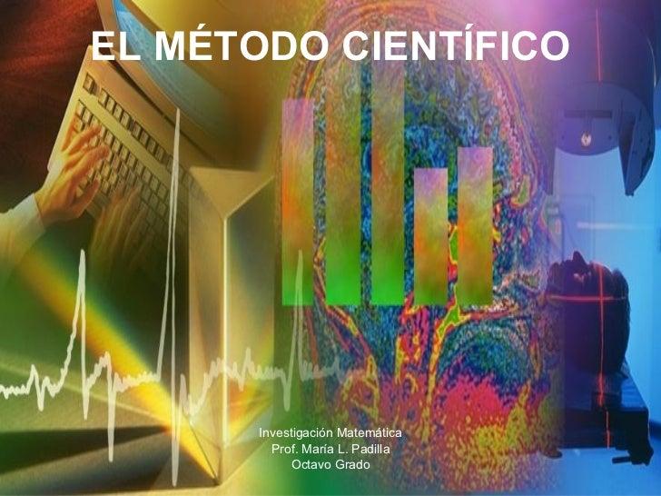 EL MÉTODO CIENTÍFICO Investigación Matemática Prof. María L. Padilla Octavo Grado