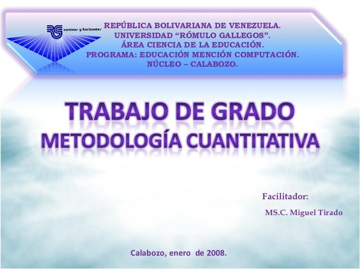 """REPÚBLICA BOLIVARIANA DE VENEZUELA. UNIVERSIDAD """"RÓMULO GALLEGOS"""". ÁREA CIENCIA DE LA EDUCACIÓN. PROGRAMA: EDUCACIÓN MENCI..."""