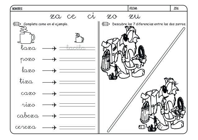 Z06.FECHA:NOMBRE: Descubre las 7 diferencias entre los dos zorros.Completa como en el ejemplo. za ce ci zo zu tacitataza p...