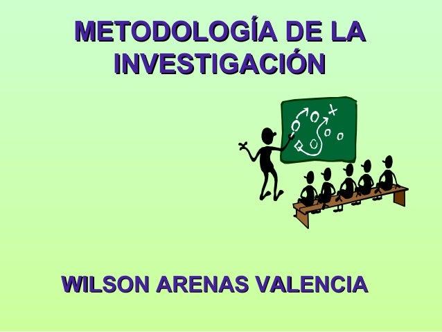 METODOLOGÍA DE LA  INVESTIGACIÓNWILSON ARENAS VALENCIA