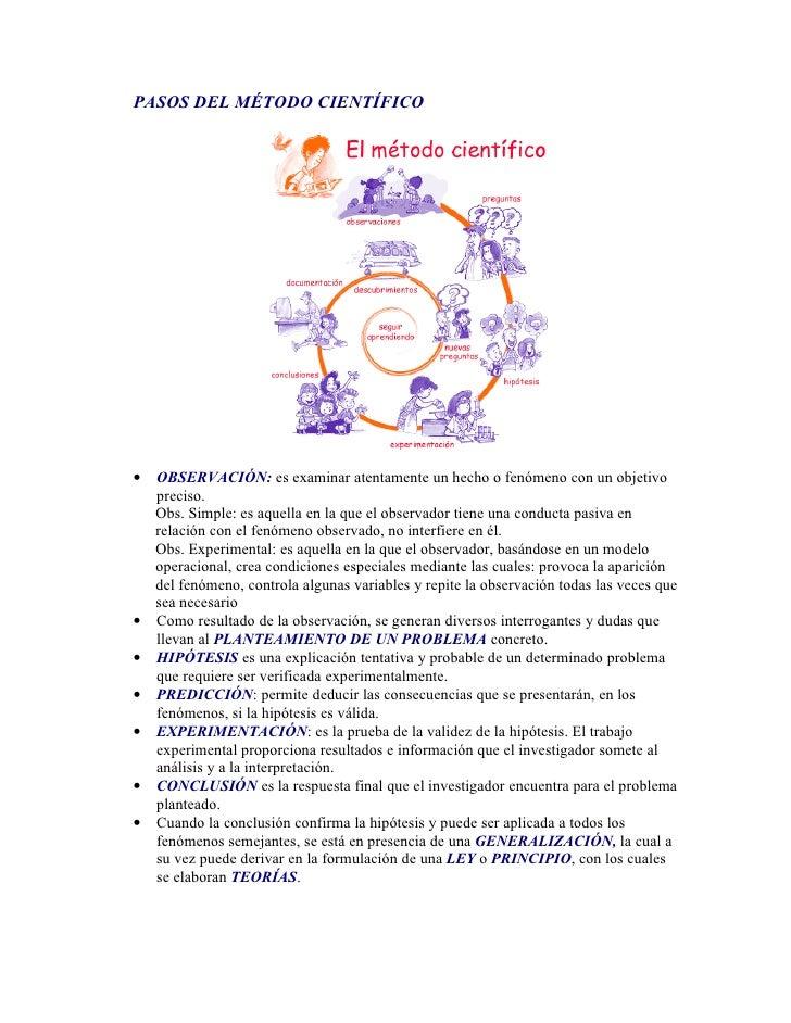 PASOS DEL MÉTODO CIENTÍFICO•   OBSERVACIÓN: es examinar atentamente un hecho o fenómeno con un objetivo    preciso.    Obs...