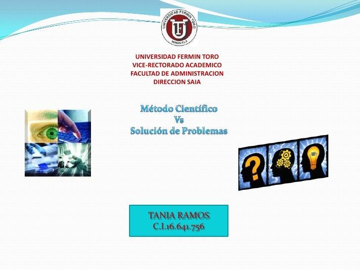 UNIVERSIDAD FERMIN TORO VICE-RECTORADO ACADEMICOFACULTAD DE ADMINISTRACION        DIRECCION SAIA    TANIA RAMOS     C.I.16...