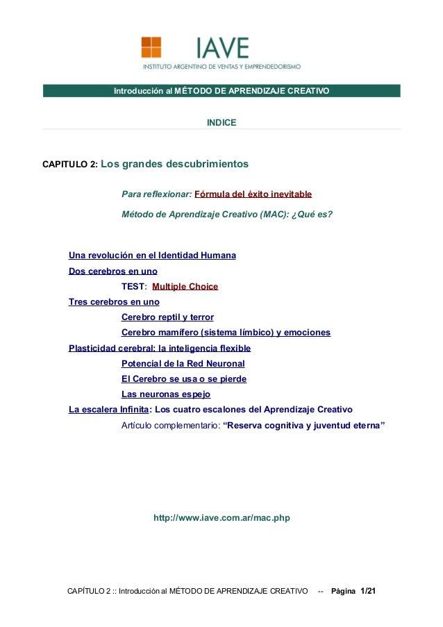 Introducción al MÉTODO DE APRENDIZAJE CREATIVO                                      INDICECAPITULO 2: Los grandes descubri...
