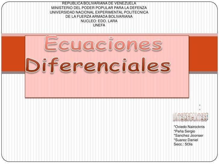REPUBLICA BOLIVARIANA DE VENEZUELA<br />MINISTERIO DEL PODER POPULAR PARA LA DEFENZA<br />UNIVERSIDAD NACIONAL EXPERIMENTA...
