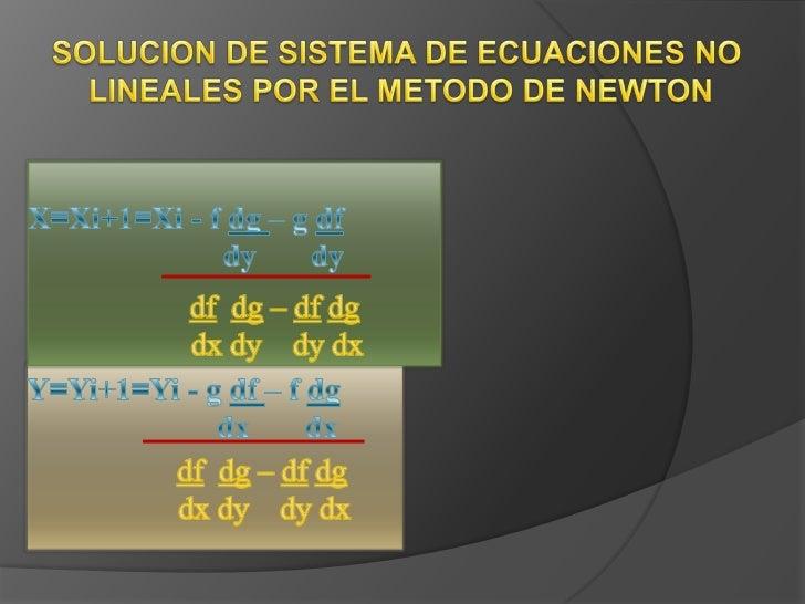 Metodo de newton ecuaciones no lineales
