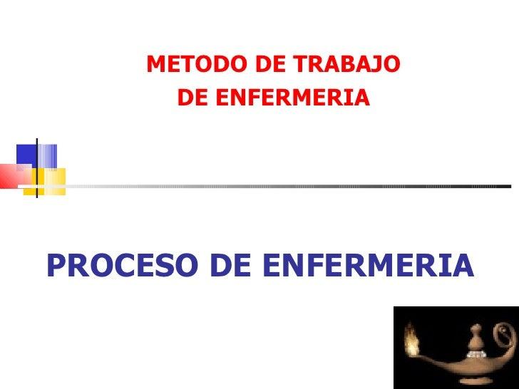 METODO DE TRABAJO       DE ENFERMERIA     PROCESO DE ENFERMERIA