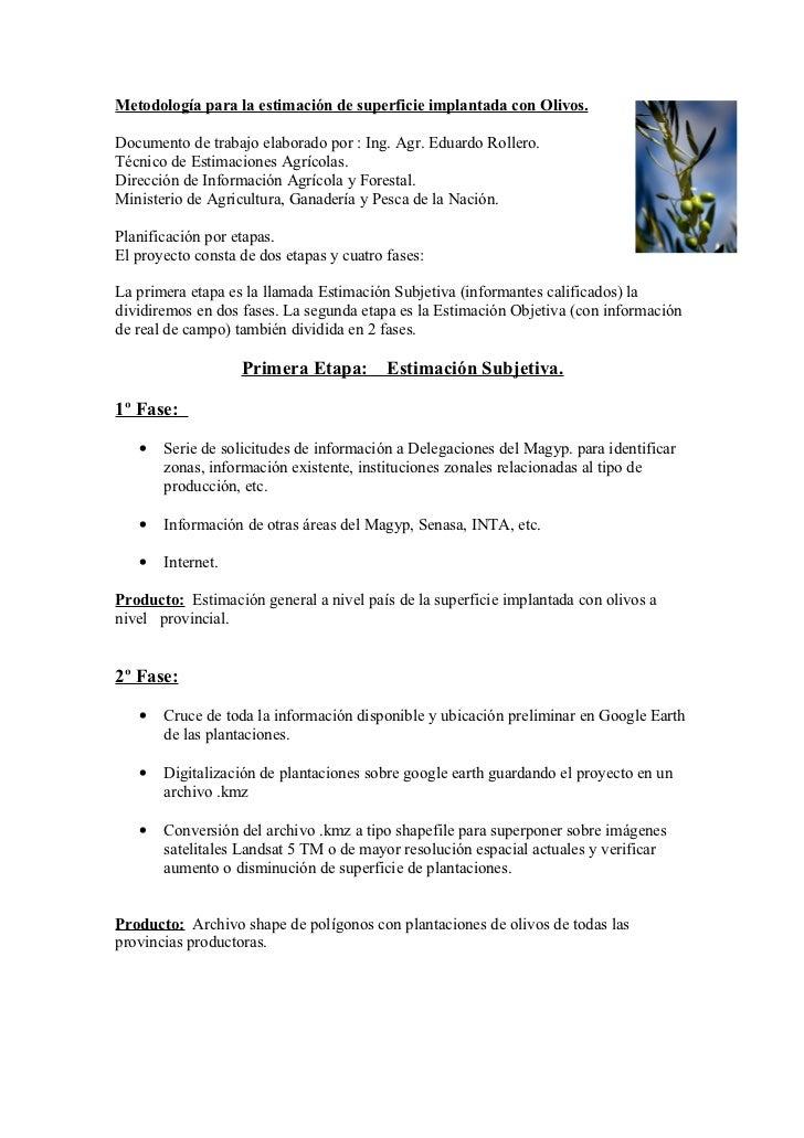 Metodología para la estimación de superficie implantada con Olivos.Documento de trabajo elaborado por : Ing. Agr. Eduardo ...