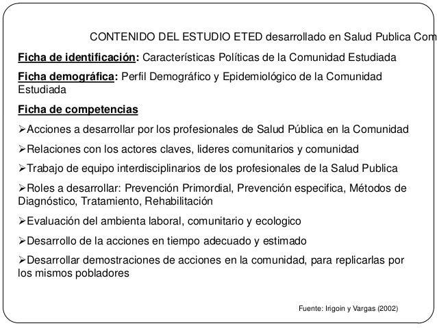 CONTENIDO DEL ESTUDIO ETED desarrollado en Salud Publica Comu Ficha de identificación: Características Políticas de la Com...