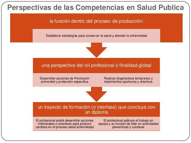 Perspectivas de las Competencias en Salud Publica la función dentro del proceso de producción: Establecer estrategias para...