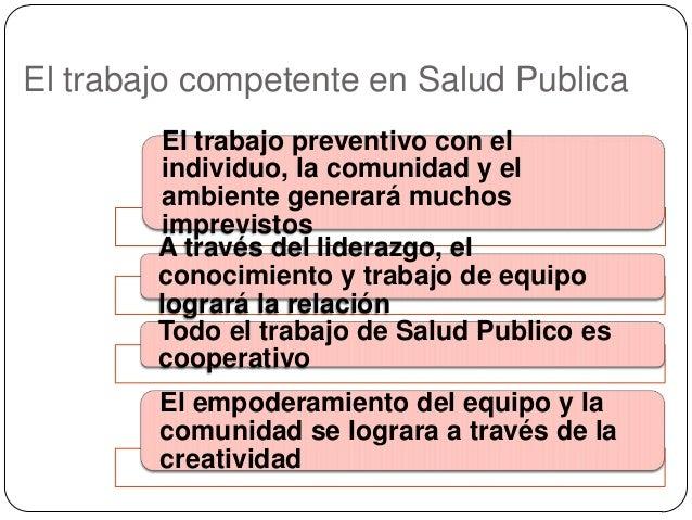 El trabajo competente en Salud Publica El trabajo preventivo con el individuo, la comunidad y el ambiente generará muchos ...