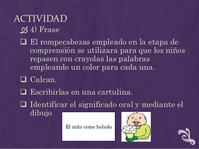 ACTIVIDAD 5) Completar oraciones Tarjetas de palabras Mural con palabras como: artículos, verbos.La _____ está comiendo...