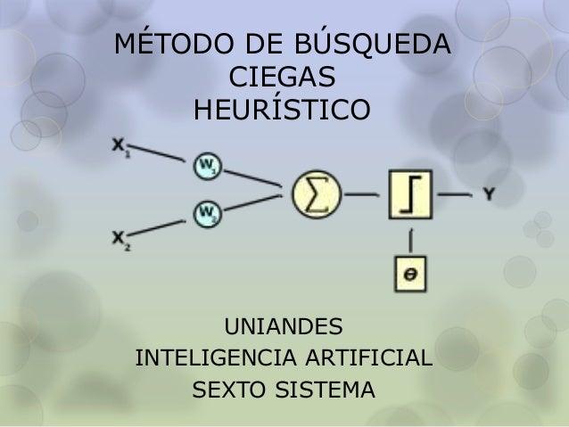 MÉTODO DE BÚSQUEDA CIEGAS HEURÍSTICO  UNIANDES INTELIGENCIA ARTIFICIAL SEXTO SISTEMA