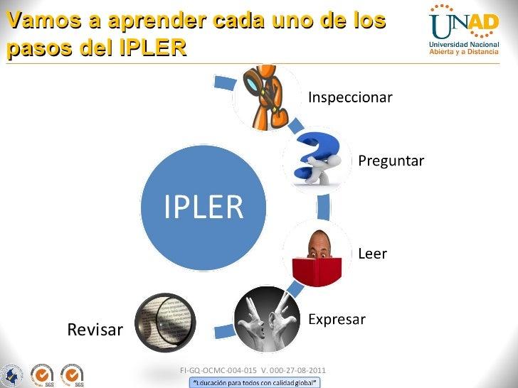 Vamos a aprender cada uno de lospasos del IPLER     Revisar               FI-GQ-OCMC-004-015 V. 000-27-08-2011