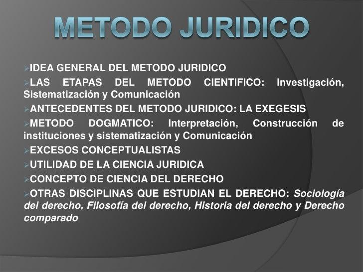 IDEA GENERAL      DEL METODO JURIDICOLAS     ETAPAS DEL METODO CIENTIFICO: Investigación,Sistematización y Comunicación...