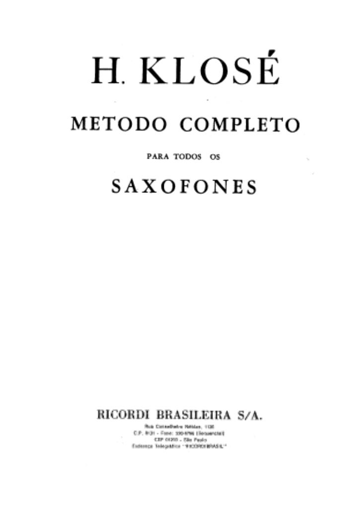 [Metodo] klose   metodo completo para todos os saxofones Slide 3