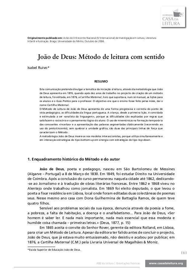Originalmente publicado em: Actas do VI Encontro Nacional (IV Internacional) de Investigação em Leitura, LiteraturaInfanti...