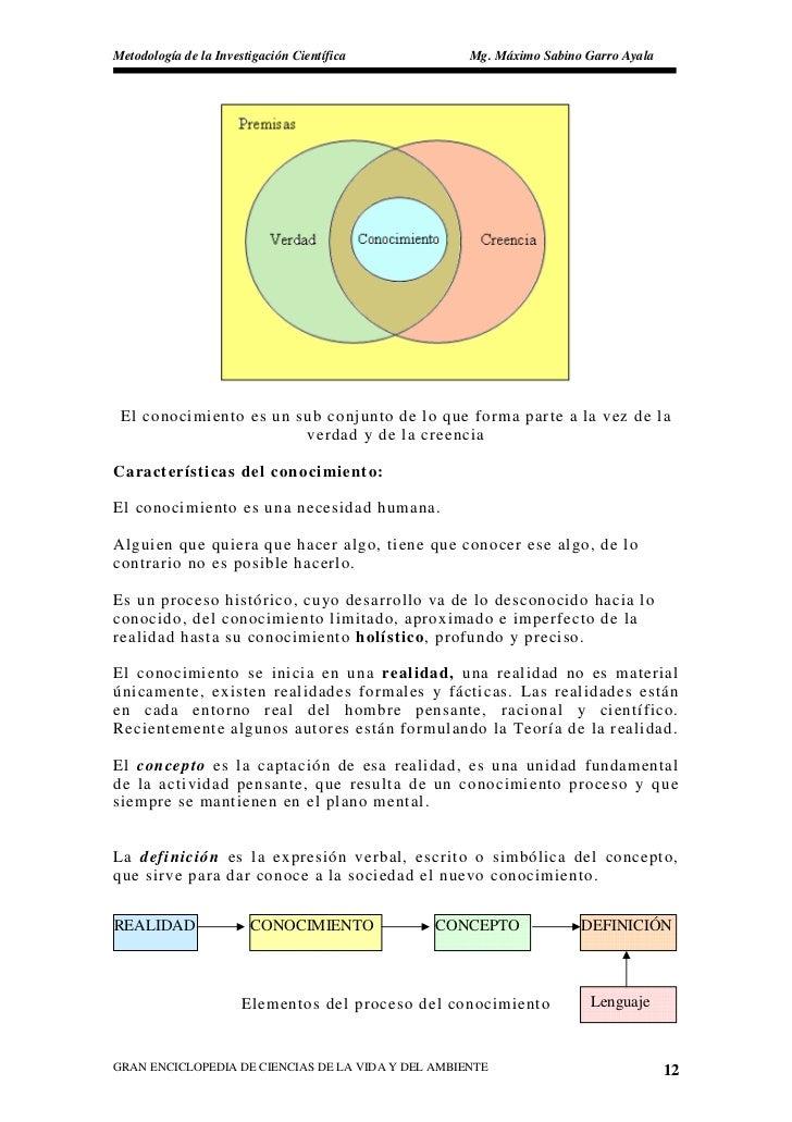 Metodología de la Investigación Científica          Mg. Máximo Sabino Garro Ayala      El conocimiento es un sub conjunto ...