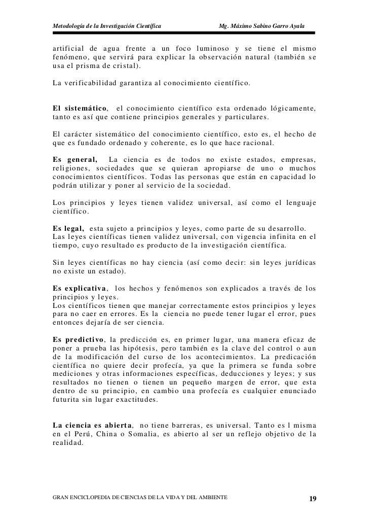 Metodología de la Investigación Científica          Mg. Máximo Sabino Garro Ayala   artificial de agua frente a un foco lu...
