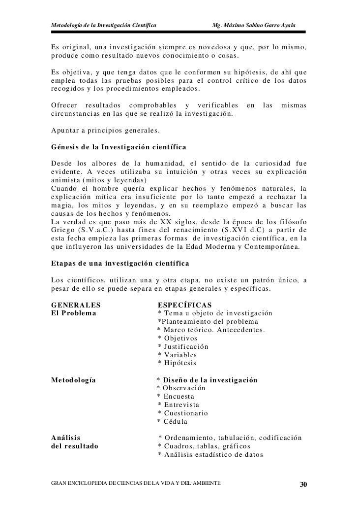 Metodología de la Investigación Científica                  Mg. Máximo Sabino Garro Ayala   Es original, una investigación...