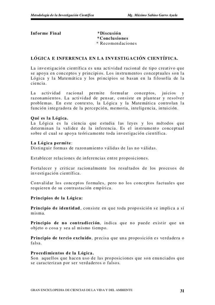 Metodología de la Investigación Científica                Mg. Máximo Sabino Garro Ayala     Informe Final                 ...