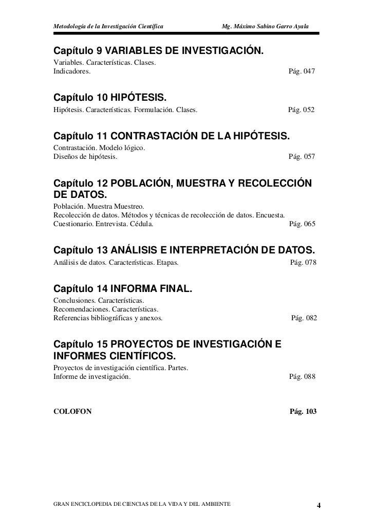 Metodología de la Investigación Científica           Mg. Máximo Sabino Garro Ayala    Capítulo 9 VARIABLES DE INVESTIGACIÓ...