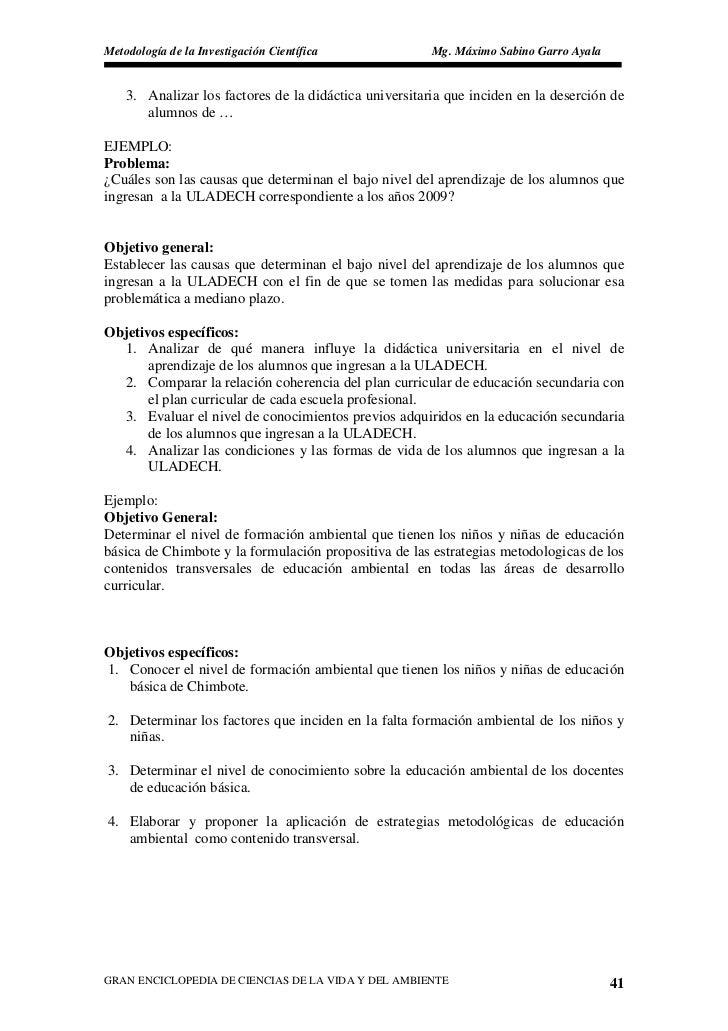 Metodología de la Investigación Científica              Mg. Máximo Sabino Garro Ayala       3. Analizar los factores de la...