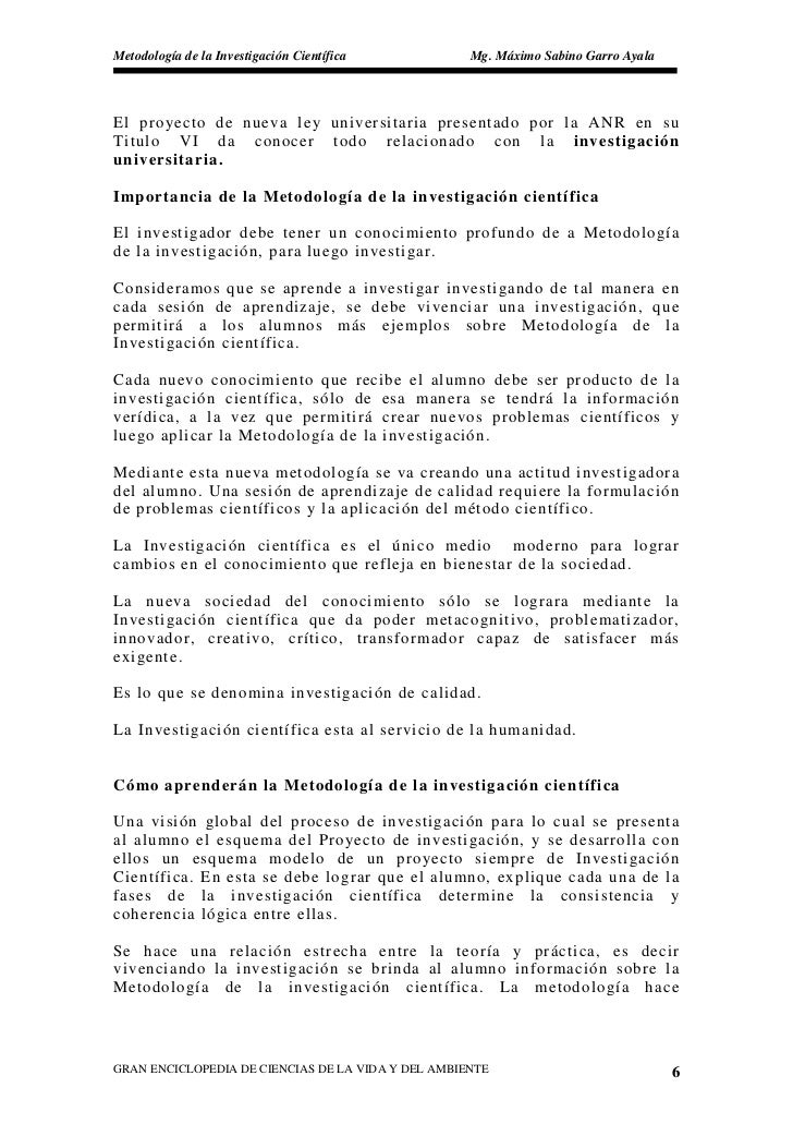 Metodología de la Investigación Científica          Mg. Máximo Sabino Garro Ayala     El pro yecto de nueva ley universita...