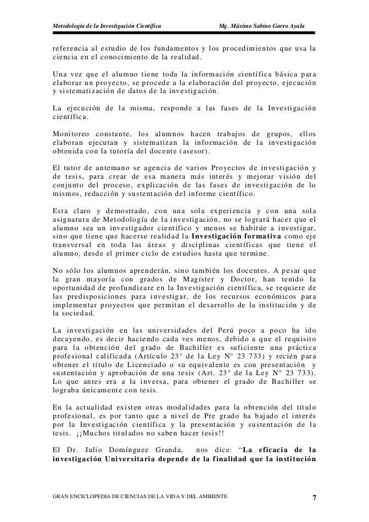Metodología de la Investigación Científica          Mg. Máximo Sabino Garro Ayala   referencia al estudio de los fundament...