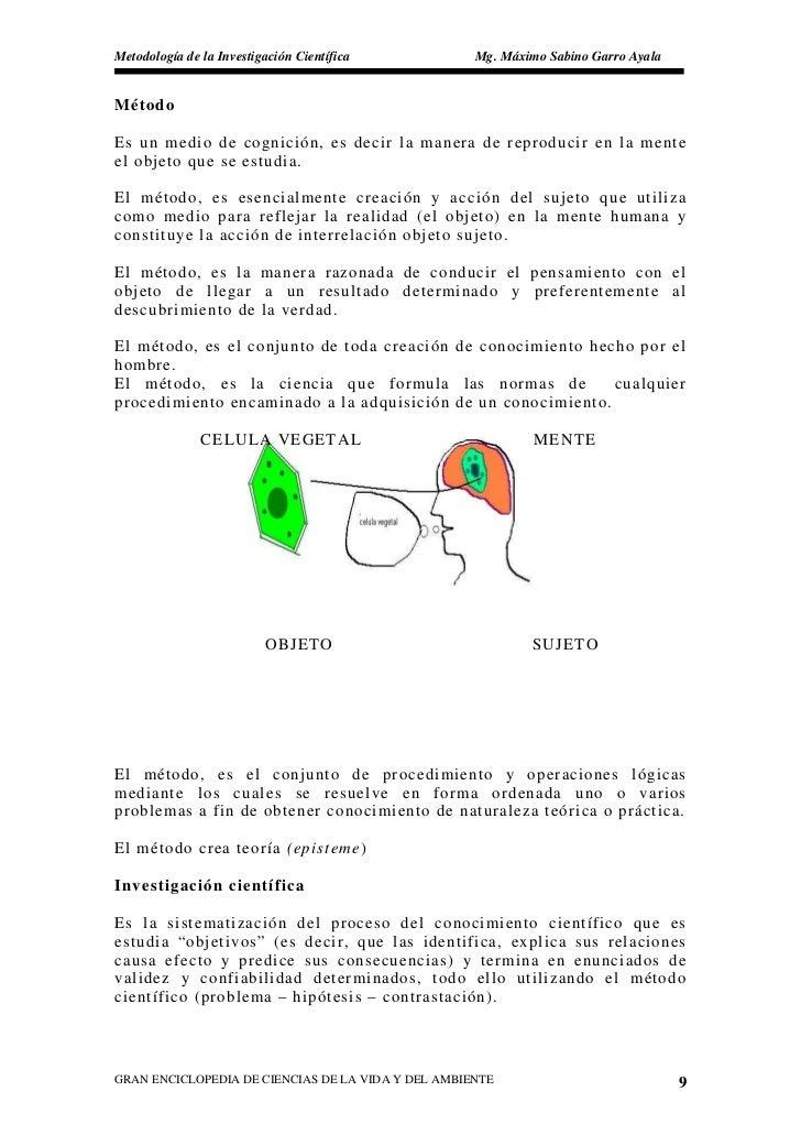 Metodología de la Investigación Científica          Mg. Máximo Sabino Garro Ayala   Método  Es un medio de cognición, es d...