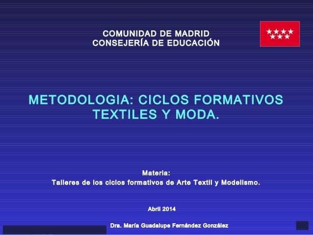 Abril 2014MARIA GUADALUPE FERNÁNDEZ 1 Materia: Talleres de los ciclos formativos de Arte Textil y Modelismo. COMUNIDAD DE ...