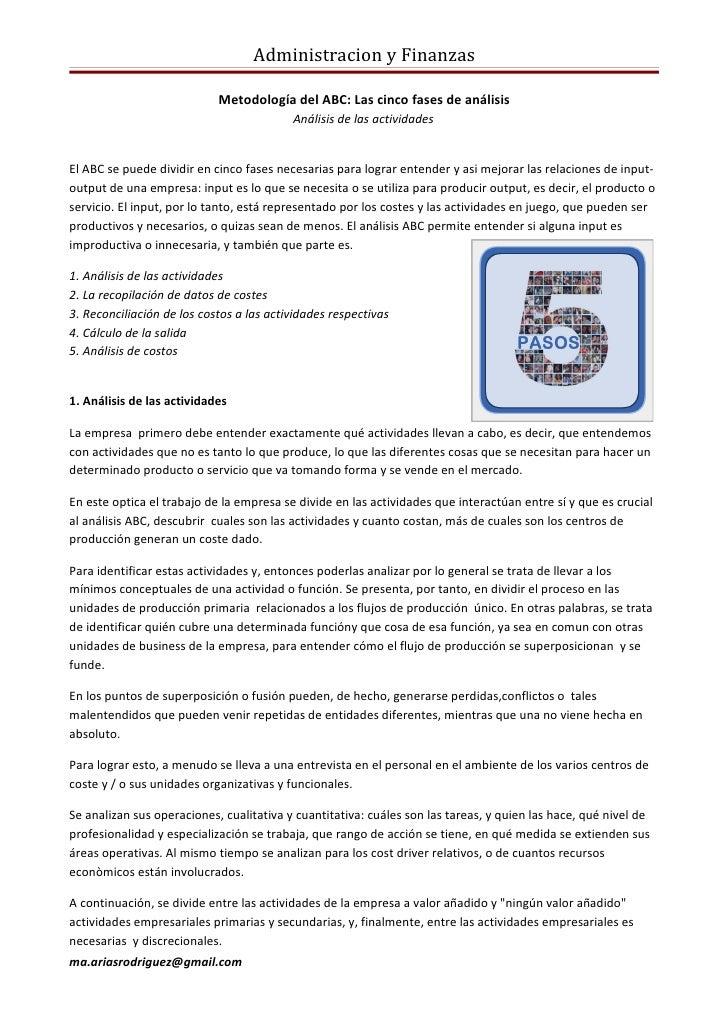 Administracion y Finanzas                            Metodología del ABC: Las cinco fases de análisis                     ...