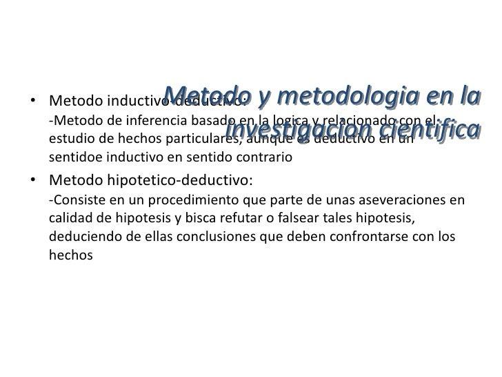 Metodo y metodologia en la• Metodo analitico:  -Proceso cognoscitivo, que consiste en descomponer un                      ...