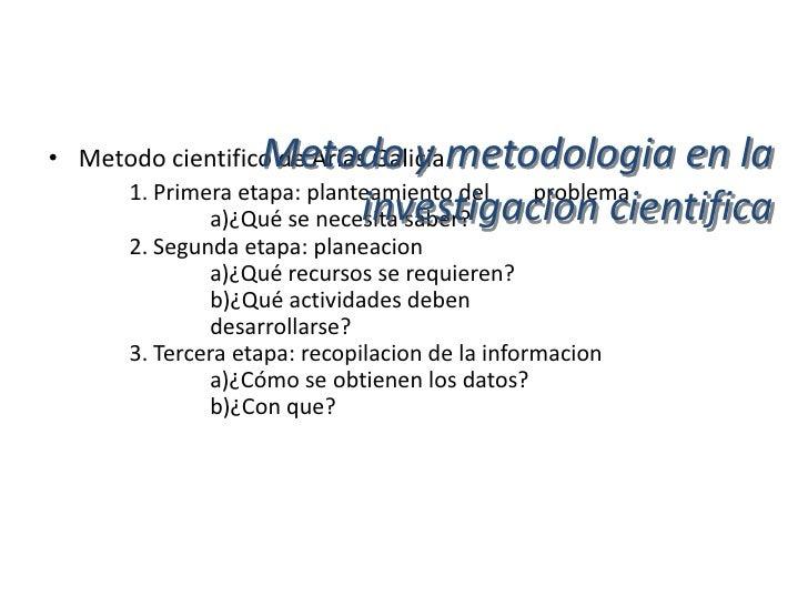 Metodo y metodologia en la                      investigacion cientifica• Metodo cientifico de Arias Galicia       4. Cuar...