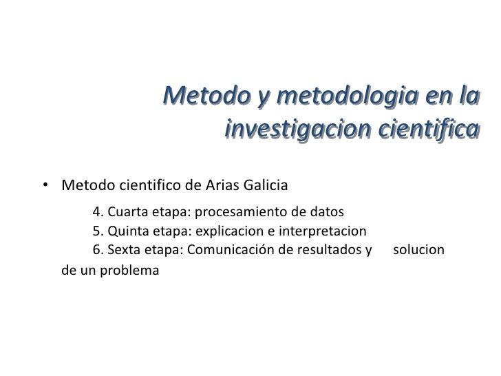 Metodo y metodologia en la                       investigacion cientifica• Metodo cientifico (modelo general) de  Hernande...
