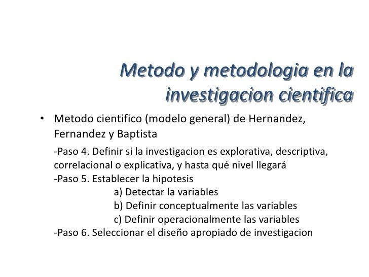 Metodo y metodologia en la                      investigacion cientifica• Metodo cientifico (modelo general) de Hernandez,...