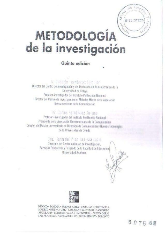 Metodologia dela investigacion hernandez sampieri 5ta edicion