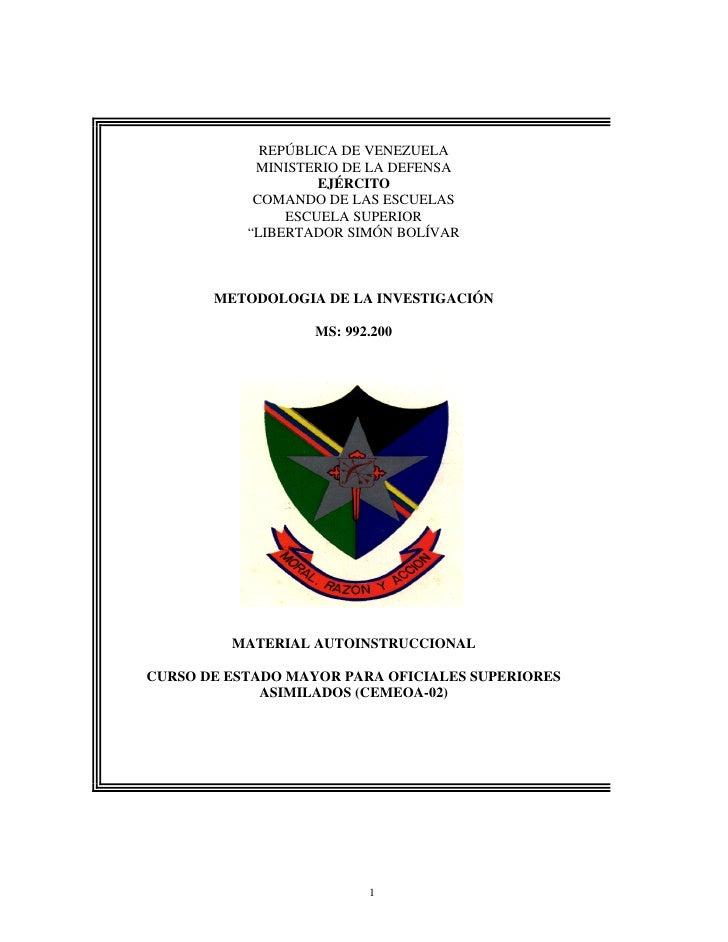 Metodología de la investigación ejercito venezolano