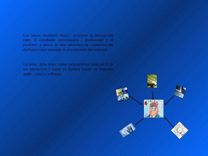 Las tareas mediante blogs permiten la interacción entre el estudiante universitario / profesional y el profesor a través d...