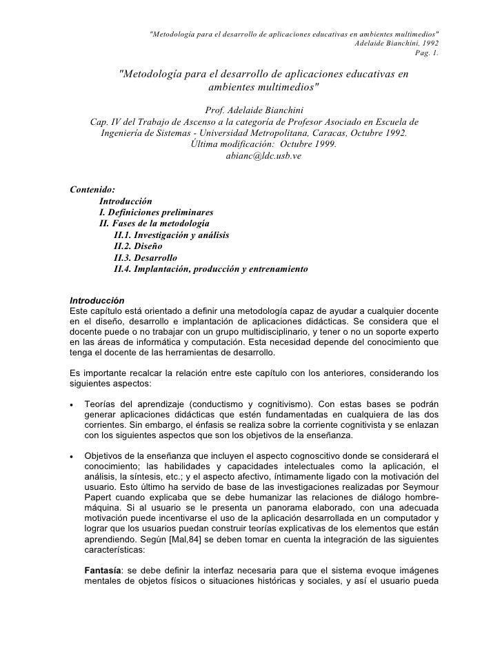"""""""Metodología para el desarrollo de aplicaciones educativas en ambientes multimedios""""                                      ..."""