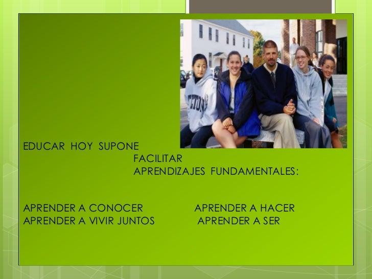 EDUCAR HOY SUPONE                FACILITAR                APRENDIZAJES FUNDAMENTALES:APRENDER A CONOCER        APRENDER A ...
