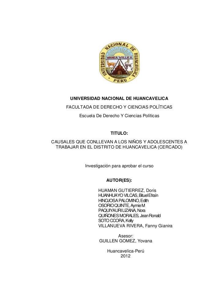 UNIVERSIDAD NACIONAL DE HUANCAVELICA     FACULTADA DE DERECHO Y CIENCIAS POLÍTICAS          Escuela De Derecho Y Ciencias ...