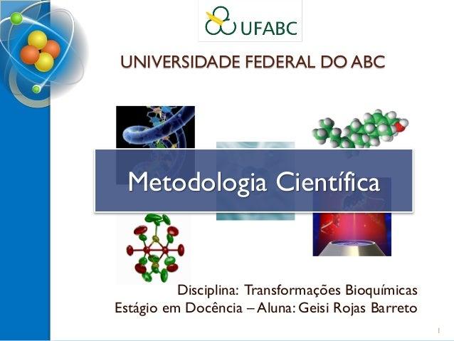 UNIVERSIDADE FEDERAL DO ABC Disciplina: Transformações Bioquímicas Estágio em Docência – Aluna: Geisi Rojas Barreto Metodo...
