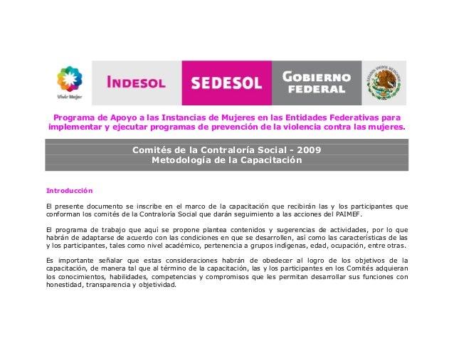 Programa de Apoyo a las Instancias de Mujeres en las Entidades Federativas para implementar y ejecutar programas de preven...
