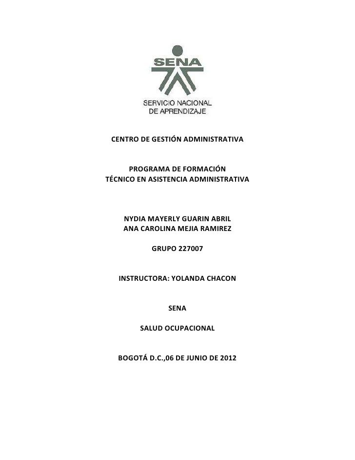 CENTRO DE GESTIÓN ADMINISTRATIVA      PROGRAMA DE FORMACIÓNTÉCNICO EN ASISTENCIA ADMINISTRATIVA    NYDIA MAYERLY GUARIN AB...